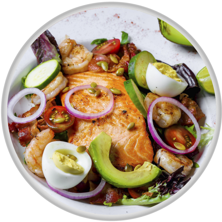 Grill Salmon Salad Grilled *salmon on a bed of spring mix