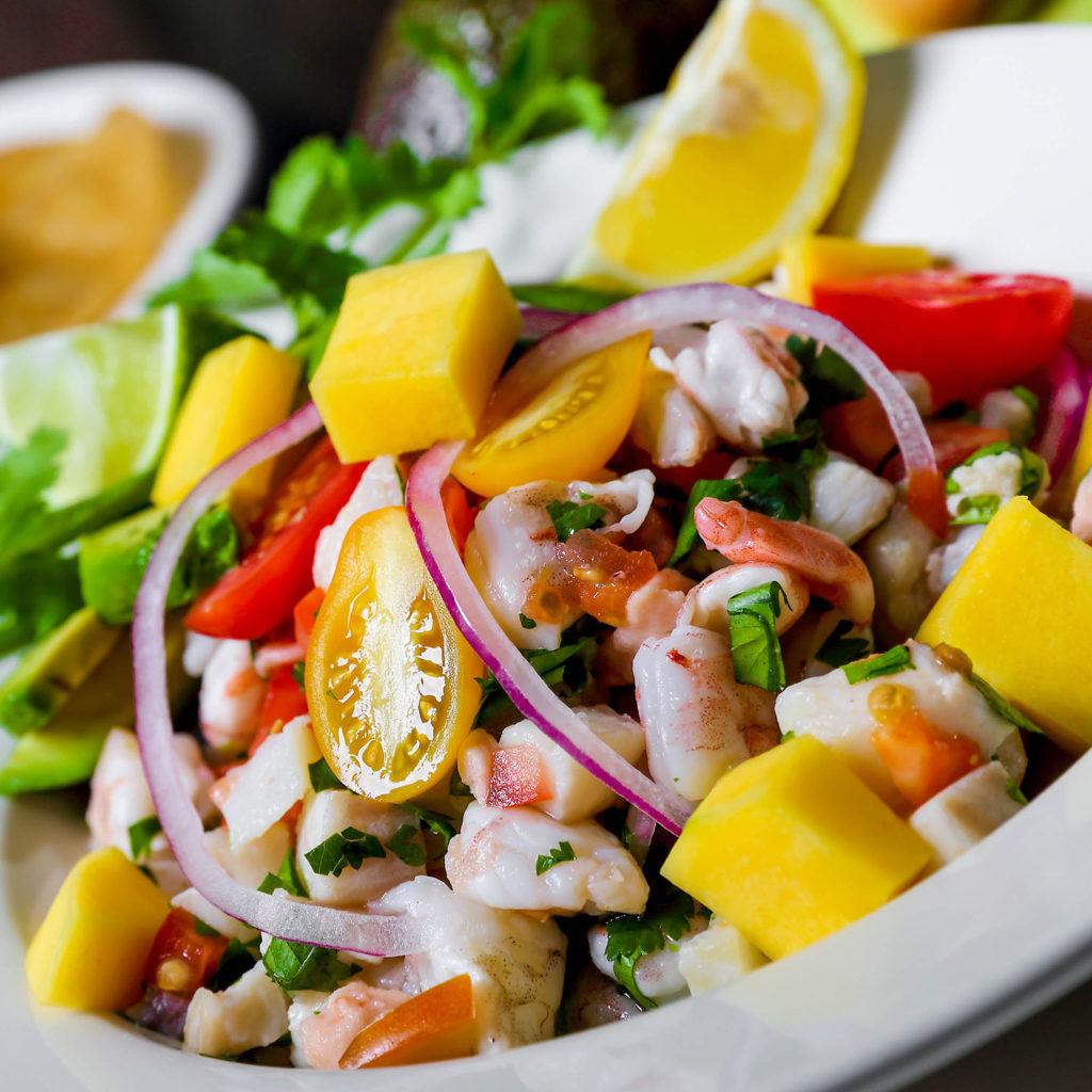 Mango-Lima-Ceviche perfect mixture of shrimp, salmon and tilapia